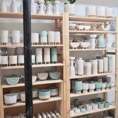 Atelier Stella Baggott Brighton Ceramic Shop, Ceramic Studio, Ceramic Pottery, Pottery Art, Craft Shed, Craft Fair Displays, Display Ideas, Keramik Design, Pottery Houses