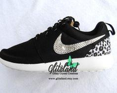 Swarovski Nike Girl /Woman Black & White  Nike Roshe Run w/Cheetah Print Heel  Blinged with SWAROVSKI® Crystals