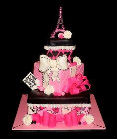 Pink Parisian Cake 1st Bday Cake, Birthday Cakes For Teens, Girly Cakes, Fancy Cakes, Pink Cakes, Gift Box Cakes, Gift Boxes, Beautiful Cakes, Amazing Cakes