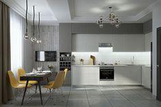 cuisine relookee grise et blanche avec sol gris clair et credence blanche