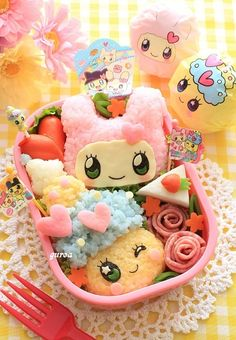 Seriously I want to have the time/talent to make lunches like this!  Amazing! Tamagocchi bento