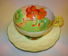 Painted Flower Handle Nasturtium Paragon Tea Cup and Saucer