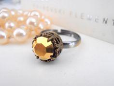 Swarovski Ring Vintage Gold Metallic by ParisiJewelryDesigns Swarovski Crystal Rings, Art Deco Ring, Filigree Ring, Stackable Rings, Boho Rings, Unique Rings, Vintage Rings, Metallic, Bronze