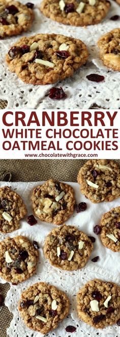 Cranberry White Chocolate Oatmeal Cookies. Fall cookie recipe with cranberries and white chocolate. Perfect Christmas cookie recipe.
