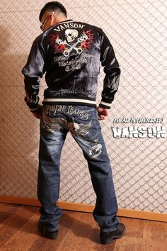 anch-crash: You can buy it only here! Our store comment VANSON バンソンスカル embroidery reversible ska Jean skeleton wing fire American casual bikie men jacket Father's Day present American Casual, Us Store, Fathers Day Presents, One Drop, Satin Jackets, Global Market, Skeleton, Fire, Embroidery