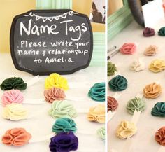 Bump Smitten: Real Baby Shower: Oh Baby.  Name tag and chalkboard with book quote idea