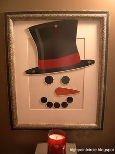 magnetic snowman. I could also see this done with the face painted onto canvas and a wooden cut-out of the hat attached.