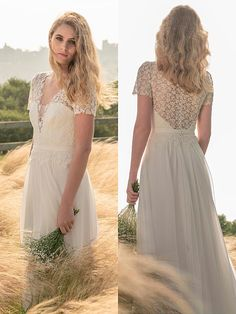 Spitzenbesetztes Brautkleid im Vintage-Stil mit fließendem Rock. Vintage Stil, Rock, Wedding Dresses, Fashion, Bridal Dresses Online, Bride Dresses, Moda, Bridal Gowns, Wedding Dressses