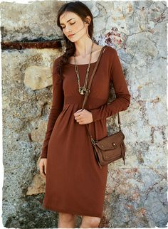 Gorgeous in rich fall color, our fine gauge knit dress in pima (60%) and modal (40%) is a wardrobe staple, with a fetching, fitted bodice and a ribbed high waist that eases into gentle pleating.