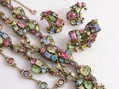 Vintage HOLLYCRAFT 1950's Necklace Bracelet Screw back Earrings & Brooch Pin #Hollycraft