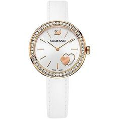 Pre-owned Swarovski Daytime White Heart Ladies Watch 5179367 ($226) ❤ liked on Polyvore featuring jewelry, watches, accessories, none, heart watches, swarovski watches, logo watches, rose watches and white strap watches