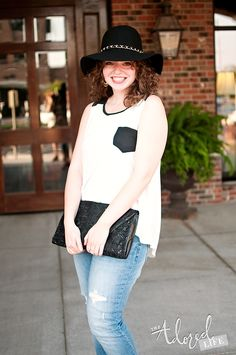 Summer to Fall transition outfit. Black and white with a floppy hat.