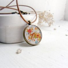 Sunny-yellow  necklace - Ukrainian decorative painting Necklace -Petrykivsky painting necklace