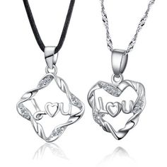 925 Sterling Silver Couple Necklace for 2 I Love You Heart Shaped Couples Necklace Set 18 with Black Cord and Silver 1mm Singapore Chain with Spring Ring Clasp Closure