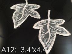 A12 Wholesale Lace ,Lace Appliques,white.wedding Applique, ONE Pair Lace Appliques, Embroidered Appliques A12 -- For more information, visit image link.