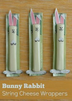 bunny rabbit string cheese for preschool Easter parties