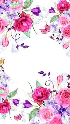 flowers, wallpaper and background image on We Heart It Flower Backgrounds, Flower Wallpaper, Wallpaper Backgrounds, Iphone Wallpaper, Flower Frame, Flower Art, Decoupage, Scrapbooking, Sweetheart Wedding Dress