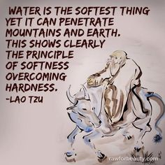 Water is the softest thing. Yet it can penetrate mountains and earth. This shows clearly the principle of softness overcoming hardness. Lao Tzu Quotes, Words Quotes, Wise Words, Me Quotes, Sayings, Qoutes, Water Quotes, Tao Te Ching, Genius Quotes