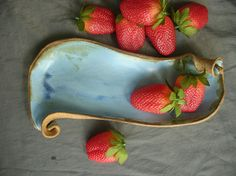 Ceramic Serving Tray with Curves in Denim Blue and Speckled Brown