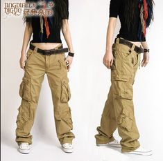 Details about Ladies Womens Black Baggy Loose Cargo Pants Wide ...