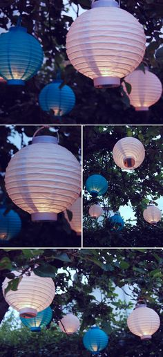 outdoor light idea (maybe it'd be possible to stock some for our tree as an option to rent) Fairy Lights In Trees, Fairy Lanterns, Paper Lanterns, Kids Party Decorations, Beach Wedding Decorations, Tree Lighting, Outdoor Lighting, Outdoor Decor, Paper Light