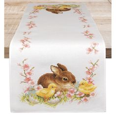 Bunny and Chicks Table Runner Counted Cross Stitch Kit- Needlework Projects, Tools & Accessories Counted Cross Stitch Kits, Cross Stitch Charts, Cross Stitch Embroidery, Embroidery Patterns, Cross Stitch Patterns, Hand Embroidery, Cross Stitch Christmas Ornaments, Easter Cross, Embroidery Techniques