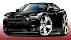Mustan Hot Rod Cartoon Art   Details About 2011 13 Dodge Charger RT Muscle Car Art Print NEW
