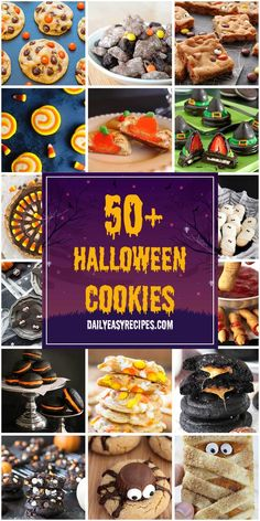 "Halloween is all about the treats. Children walking around neighborhoods, costumed, collecting candy for one night each year. While most ""Halloween candy"" is the store-bought, pre-packaged variety, there is a whole universe of creative cookie options Homemade Halloween, Halloween Food For Party, Halloween Desserts, Halloween Cookies, Halloween Foods, Halloween Ideas, Sweets Recipes, Easy Recipes, Easy Meals"