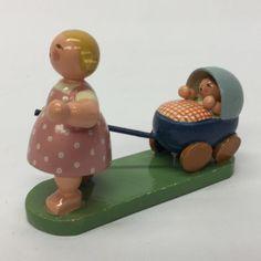 Erzgebirge Wendt Kuhn Wood Girl Pulling Baby Carriage Expertic GDR East Germany  | eBay