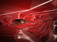 Auditorium by Gonzalo Vaíllo Martínez Auditorium Design, Auditorium Architecture, Folding Architecture, Theatre Architecture, Architecture Student, Modern Architecture, Tate Modern Gallery, Cheryl Blossom Aesthetic, Theatrical Scenery