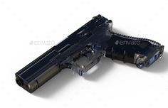 9mm isolated pistol on white background. 3D render. Included JPEG and transparent PNG