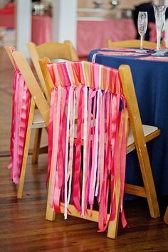 Bonnie Projects: Coral Wedding Chair Ribbons