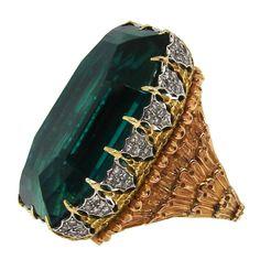 Stunning Buccellati Green Tourmaline, Diamond & Gold Ring, circa 1970's
