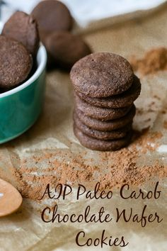 The perfect AIP Paleo carob chocolate wafer cookies to make for your favorite person or yourself for dessert as a snack or during special occasions. These are AIP gluten-free grain-free nut-free soy-free egg-free and dairy-free! Carob Chocolate, Chocolate Wafer Cookies, Chocolate Wafers, Gluten Free Desserts, Dessert Healthy, Dessert Recipes, Paleo Recipes, Free Recipes, Carob Recipes