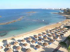 A sandy beach in Turkish Famagusta of North Cyprus North Cyprus, Airplane View, Landscape, History, Beach, Water, Outdoor Decor, Holiday, Travel
