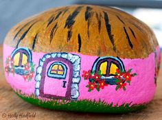 Gnome Cottage Hand Painted on Beach Rock by artbyhollyhadfield, $25.00
