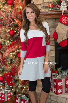 Warm Me Up Red and Grey Colorblock Tunic - The Pink Lily Boutique