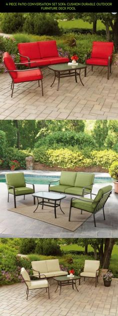 4 Piece Patio Conversation Set Sofa Cushion Durable Outdoor Furniture Deck Pool  #drone #racing #tech #fpv #parts #4 #kit #piece #shopping #gadgets #technology #products #patio #plans #camera #furniture