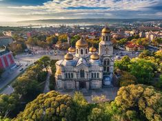 The Cathedral of the Assumption in Varna, Aerial view by Valentin Valkov on The Cathedral of the Assumption in Varna, Aerial View Varna, Bulgaria. Sofia Bulgaria, Summer Courses, Famous Places, Air France, Kirchen, Aerial View, Cool Places To Visit, Day Trips, Paisajes