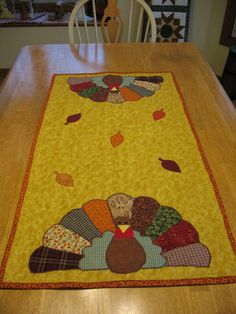 Appliqued Quilted Turkey Table Runner for Thanksgiving or Fall