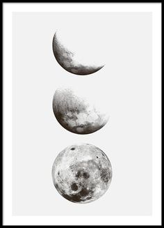 Schwarz-Weiß-Plakat mit Fotos vom Mond // Aquarell malen Mond Black and white poster with photos of the moon // Watercolor painting moon Black And White Posters, Black And White Prints, Black And White Stickers, Black And White Drawing, White Art, Online Posters, Buy Posters, Moon Sketches, Mode Poster