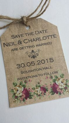 Save the date shabby chic style romantic cards, These cards have printed pattern which looks just like burlap. They are printed on 280gsm thick