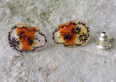 Abyssinian Guinea Pig Earrings -white and orange, Hand-Made
