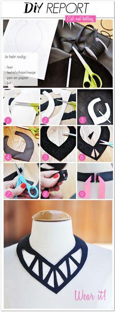 For at lave denne fede krave skal du bruge: - Læder - Saks eller kniv - Blyant og papir - Silkebånd 1. + 2. Start med at designe din krave. Lav din egen eller brug et mønster fra en anden. Klip det...