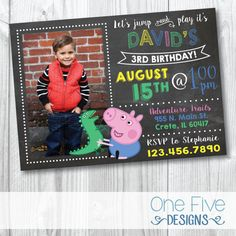 Peppa Pig / George Pig Birthday Invitation with by OneFiveDesigns