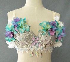 Women mermaid flower bra belly dance beaded embroidered bra Belly Dance Bra, Mermaid Bra, Flowers, Women, Royal Icing Flowers, Flower, Florals, Floral, Woman