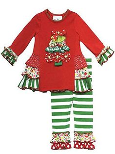 a323135ec Girl's Christmas Outfits : Red Knit Top Tree Applique with Side Ruffles  Legging Set Christmas Outfit. Red, Green and White. Ruffles and Stripes.