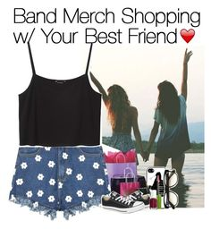 """Band Merch Shopping w/ Your Best Friend"" by fangirl-1d ❤ liked on Polyvore featuring Samsung, Monki, Converse, Maybelline, Essie and Wildfox"