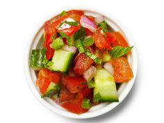Cucumber Salsa : Mix 3 chopped tomatoes, 1 diced seeded jalapeno, 1 diced red onion, 2 tablespoons chopped cilantro, 1/4 teaspoon ground cumin, add 1 cup diced seeded cucumber, the juice of 1 lime, 2 tablespoons chopped mint and salt to taste.