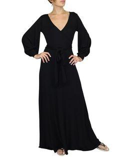 Shop Wrap Dresses - Modal Plain Casual Balloon Sleeve Wrap Dress online. Discover unique designers fashion at StyleWe.com.